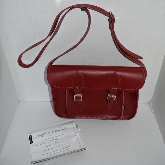 8c16a11e7e38 Zatchels 11'' Red Handcrafted Leather Satchel Bag